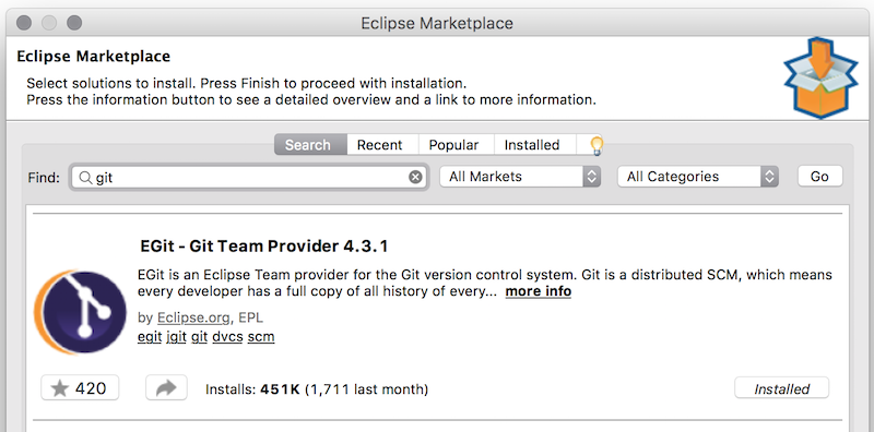 Eclipse Marketplace, eGit plugin