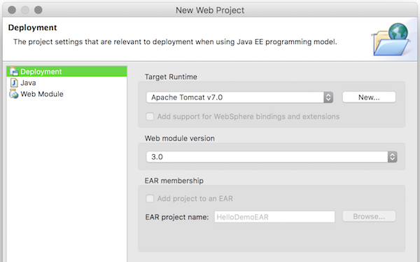 Eclipse new web project - deployment step