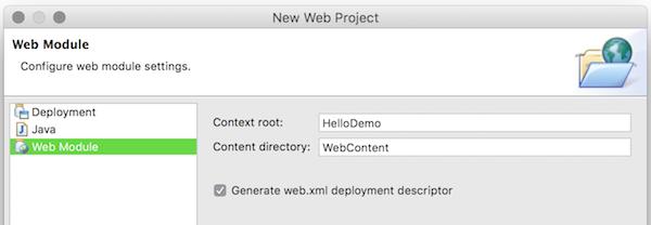 Eclipse new web project - web module step
