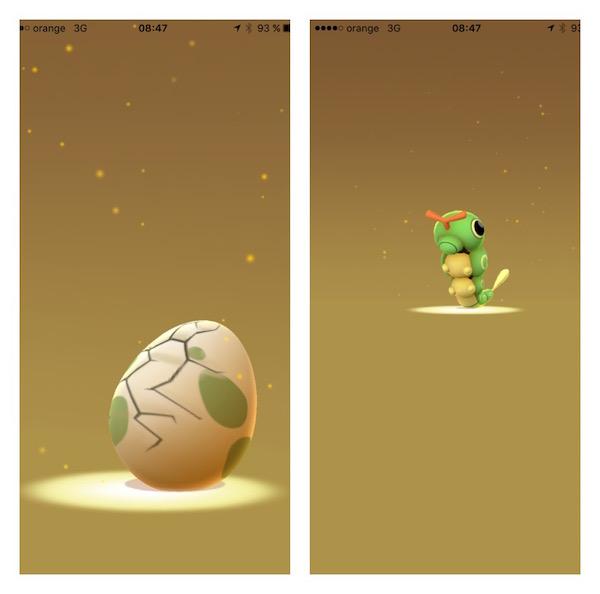 Egg hatches, pokemon reward