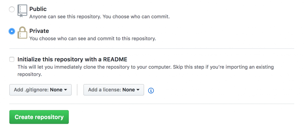Choose your newly created GIT repository settings